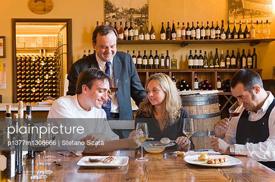 Chef Mattia Barciulli with Milva Franchini,sommelier Maurizio Colia and Marcello Crini tasting sweet wines for coupling with desserts at Restaurant Osteria di Passignano - p1377m1308666 by Stefano Scatà