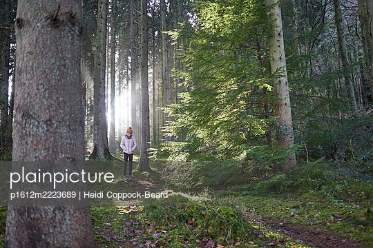 Girl walking through a forest  - p1612m2223689 by Heidi Coppock-Beard