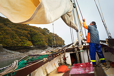 Traditional Sustainable Oyster Fishing.  A fisherman on a sailing boat.  - p1100m1216011 by Mint Images