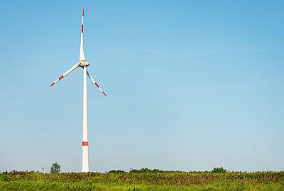 Landscape with wind turbine, Antwerp harbor, Antwerp, Belgium - p429m958529f by Mischa Keijser