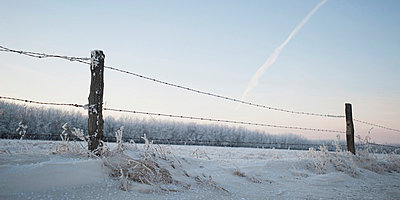 A Barbed Wire Fence In The Snow In Winter - p44211464f by Keith Levit