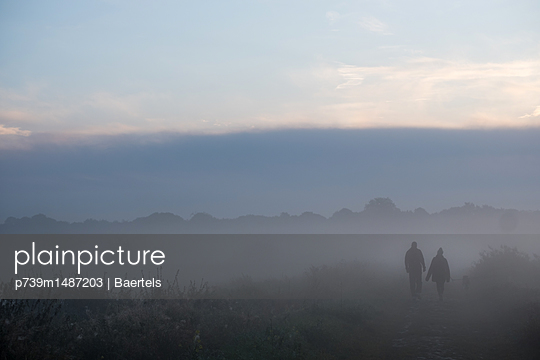 Couple and dog in morning mist - p739m1487203 by Baertels