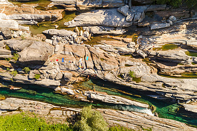 aerial view People bathing at Valle Verzasca close to Locarno    - p1332m1491272 by Tamboly