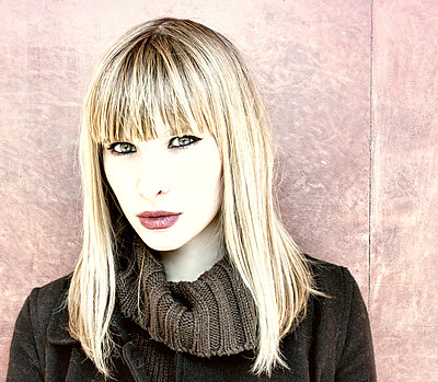 Portrait of woman with bangs - p1445m1574933 by Eugenia Kyriakopoulou