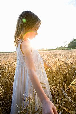 Girl walking in corn field, lens flare - p4292225f by Adie Bush