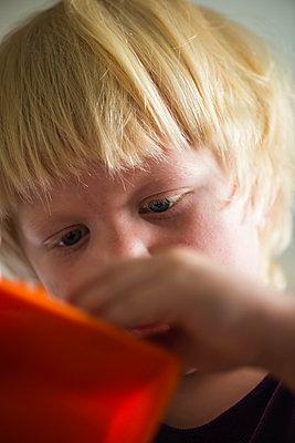 Little boy playing with toys - p1418m1591267 by Jan Håkan Dahlström