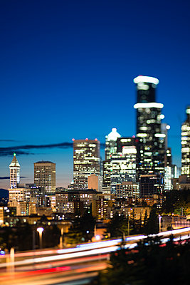 Nighttime View of the Downtown Seattle Skyline - p1166m2261582 by Cavan Images