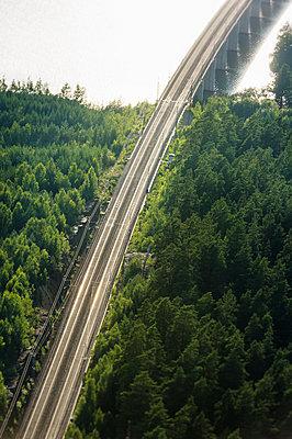 Railway bridge over river - p312m1121717f by Hans Berggren