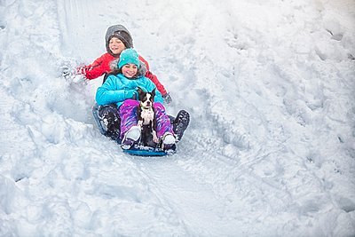 Brother and sister sledging with Boston terrier puppy on snow covered hillside smiling - p429m1103208 by Rebecca Nelson