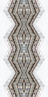 Abstract kaleidoscope of a shell facade with scaffolding - p401m2209294 by Frank Baquet