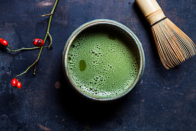 Japanese Matcha in Bowl with Matcha-whisk - p300m1535675 by Susan Brooks-Dammann
