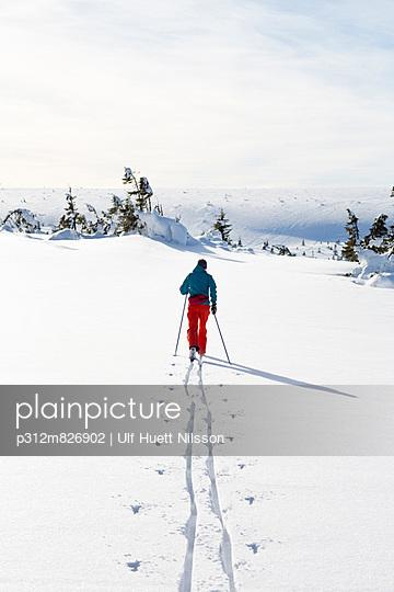 Man skiing, Dalarna, Sweden