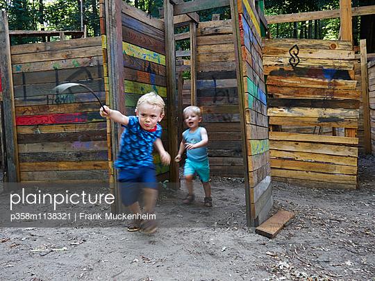 Two children in adventure playground