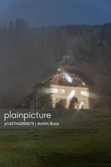 Farmhouse at sunrise, Kärnten, Switzerland - p1437m2260679 by Achim Bunz