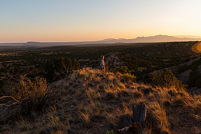 Young boy overlooking Galisteo Basin, Santa Fe - p1100m2220339 by Mint Images