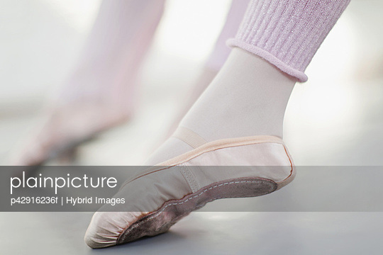 Close up of ballet dancer's foot