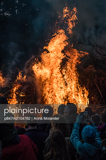 View Of Bonfire During Sunset, Sweden  - p847m2104782 by Anna Molander