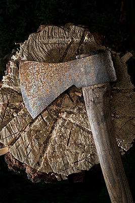 Chopping-block with axe - p1149m1144556 by Yvonne Röder