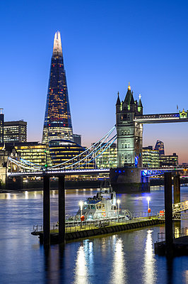 The Shard and Tower Bridge with Naval vessel on the River Thames, London, England, United Kingdom, Europe - p871m2209254 by Ed Rhodes