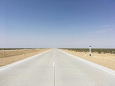 Uzbekistan, Empty Road - p1189m2263836 by Adnan Arnaout