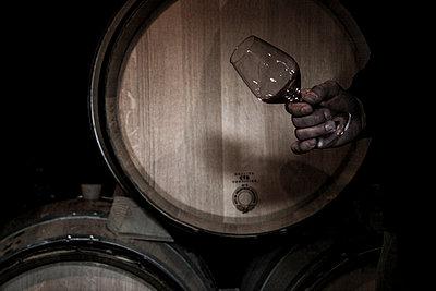 Winzer mit Weinglas im Weinkeller - p1650m2230896 von Hanna Sachau