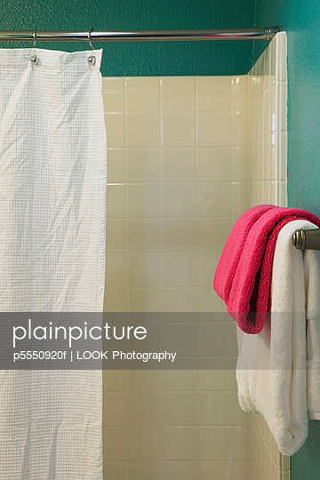 Contemporary Teal Bathroom with White Shower and Shower Curtain - p5550920f by LOOK Photography