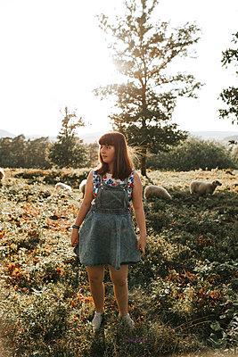 Girl in denim dress - p1507m2165755 by Emma Grann