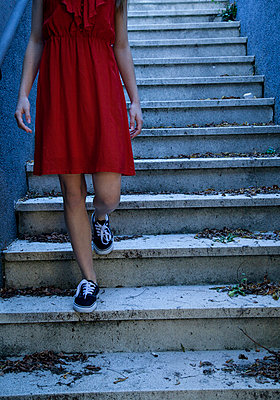 Woman in red dress - p985m892102 by lia g.