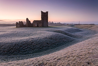 Abandoned ruin of Knowlton Church at dawn on a frosty winter morning, Dorset, England, United Kingdom, Europe - p871m1048049 by Adam Burton