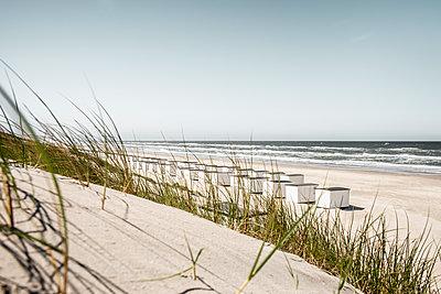 Blick über grasbewachsene Düne auf die Strandhütten von Løkken - p1162m1486634 von Ralf Wilken