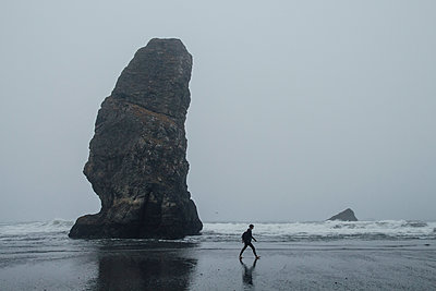 Woman Hiking on Beach - p1262m1064014 by Maryanne Gobble