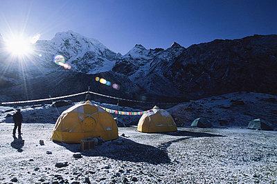 Basecamp on Mt Cholatse, (21, 328ft) Khumbu Region of the Nepalese Himalaya - p3436590f by Ace Kvale
