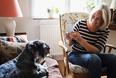 Happy senior woman photographing dog through smart phone at home - p426m1114758f by Maskot