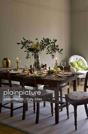 Contemporary country style dining room set for Christmas Dinner - p349m790786 by Polly Eltes