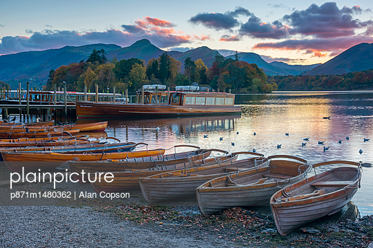 Rowing boats for hire, Keswick, Derwentwater, Lake District National Park, Cumbria, England, United Kingdom, Europe - p871m1480362 by Alan Copson