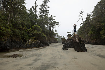 Male photographer on rock photographing trees on sandy wilderness beach - p1192m1529821 by Hero Images