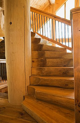 Eastern white pine stairway and pillar in log cabin - p924m1094770f by Perry Mastrovito