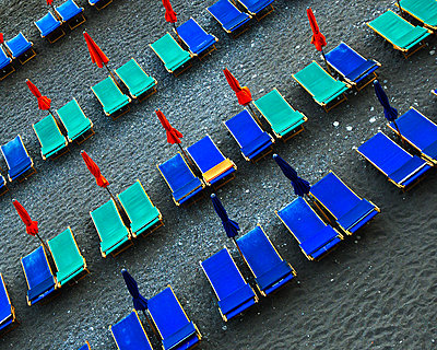 High Angle View of rows of Beach Chairs, Amalfi, Italy - p694m2218932 by Neal Panton