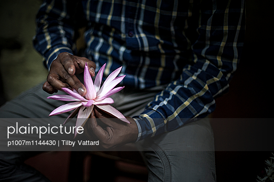 Man opening lotus flower - p1007m1144430 by Tilby Vattard