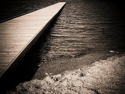 Wooden jetty at Lake Chambon - p813m1332330 by B.Jaubert