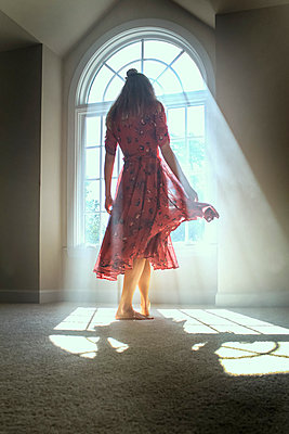 Dancing Girl in Smokey Light of Window  - p1019m1122363 by Stephen Carroll