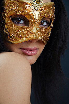 Woman with golden mask - p3300348 by Harald Braun