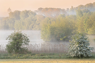 Early morning mists and spring blossom at The Great Lake, Castle Howard, North Yorkshire, Yorkshire, England, United Kingdom - p871m2113733 by David Speight