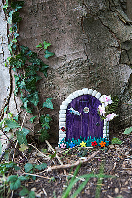 Tiny home made door on the side of a tree as if for fairies or elves in the woods, made by chidren playign in the forest. - p1057m1332422 by Stephen Shepherd