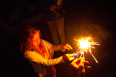 girl, sparkler, fireworks, - p694m811115 by Jack Wolford