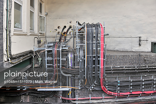 Railway station electrical cables - p1048m1511073 by Mark Wagner