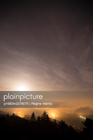 Alsace plain in France, seen from the Vosges Mountains, light pollution - p1682m2278075 by Régine Heintz
