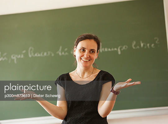 Austria, Teacher in front of blackboard