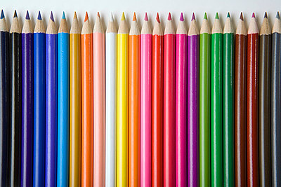 Colored pencils in a row - p3016404f by Martin Diebel