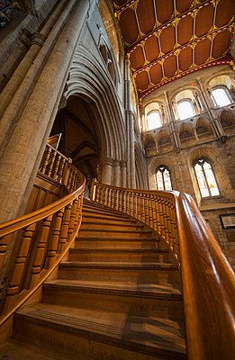 Wooden curving staircase in ripon cathedral; ripon yorkshire england - p442m700466 by John Short